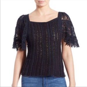 Free People Navy Black Combo Knit Top